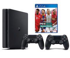 Sony PlayStation 4 Slim with Pro Evolution Soccer PES 2021, 1TB, 2 Controllers - Black