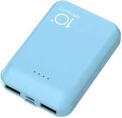 Zentality Power Bank, 10000mAh, 2 Ports, Blue - P004-BL