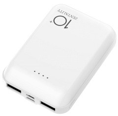 Zentality Power Bank, 10000mAh, 2 Ports, White - P004-WH