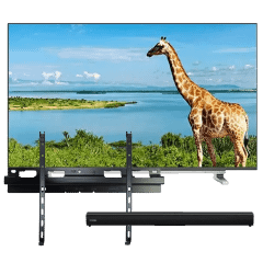 Toshiba 65 Inch Frameless UHD Smart LED TV with Bluetooth Sound Bar and Wall Mount