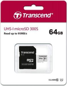 Transcend Class 10 microSDXC Memory Card with Adapter, 64GB - 300S
