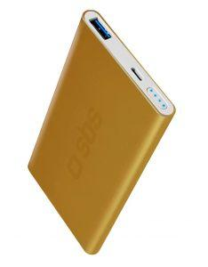 SBS Gold Collection Fast Charge Power Bank, 5000mAh, 1 USB Port - Gold