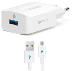 Ttec SpeedCharger QC Wall Charger with Micro USB Cable, 1 Port, White - 2SCQC01M