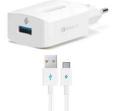 Ttec SpeedCharger QC Wall Charger with Type-C USB Cable, 1 Port, White - 2SCQC01C