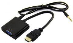 HDMI Cable To VGA With Audio Cable - Black