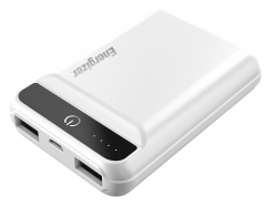 Energizer Power Bank, 10000mAh, 2 Ports, White - UE10032