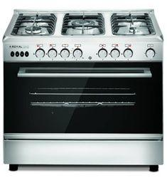 Royal Freestanding Crystal Cast Gas Cooker, 5 Burners, Stainless Steel, 60×90 cm