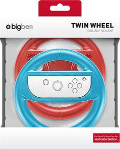 Bigben Gaming Steering Wheel For Nintendo Switch, Blue/Red- 2 Pieces