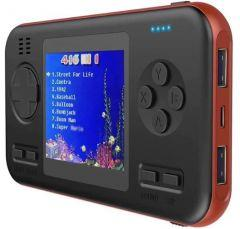 Wanle Power Bank with Built-in Video Handheld Gaming Console, 8000mAh, Black/Red - D-12