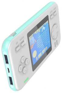 Wanle Power Bank with Built-in Video Handheld Gaming Console, 8000mAh, White/Blue - D-12