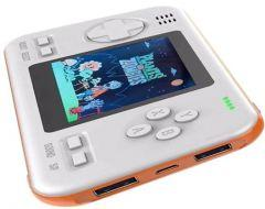 Wanle Power Bank with Built-in Video Handheld Gaming Console, 8000mAh, White/Orange - D-12