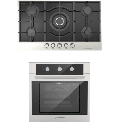 Ecomatic Built-In Set Of Gas Hob, 5 Burners- S927IQC, And Gas Oven With Grill, 64 Liters- G6424T
