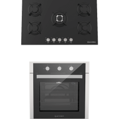 Ecomatic Crystal Built-In Set Of Gas Hob, 5 Burners- S907RC, And  Gas Oven With Grill, 64 Liters- G6434T