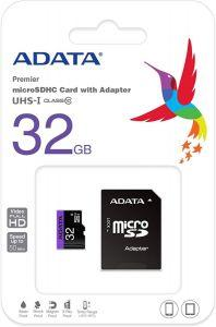 ADATA Premier 32GB microSDHC UHS-I Class10 Memory Card With Adapter