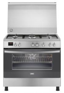 Zanussi Freestanding Digital Gas Cooker, 5 burners, Stainless Steel, 90 cm - ZCG92496XA